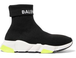 Speed Logo-Intarsia Stretch-Knit High-Top Sneakers